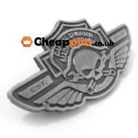 Antique silver custom pins with motor event logo.