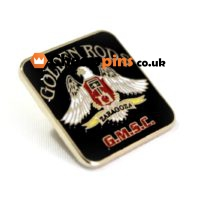 Enamel custom pins with the form of the logo of a motorcycle event.