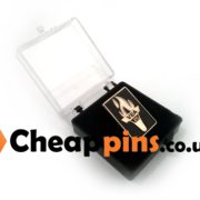 Plastic boxes for custom pins.