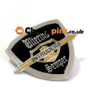 Metal pins with enamel colors and custom logo.