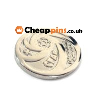 Nickel custom pins with the logo of your design.